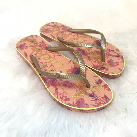 94a5eca3b NWT San Edelman Flip Flops Sandals Floral Pink
